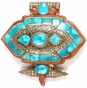 Tibetan Gau Box Pendant with Filigree - Sterling Silver with Turquoise & Coral