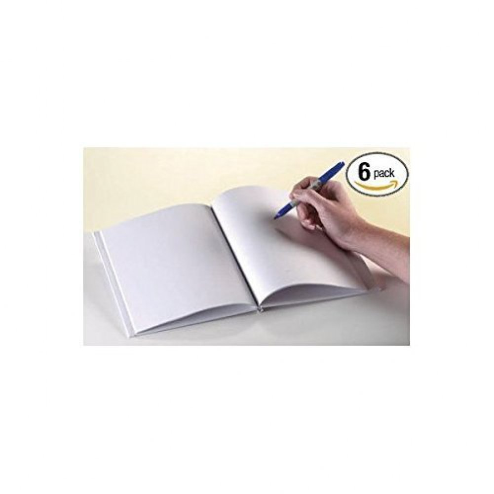 """Amazon.com: White Blank Books with Hardcovers 6""""W x 8""""H (6 Books / Pack) by  Ashley Productions: Office Products"""