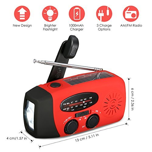 [New Version] EIVOTOR Emergency Hand Crank Self Powered Portable AM/FM NOAA Solar Weather Radio LED Flashlight, 1000mAh Power Bank Camping Outdoor Sports (NOAA)
