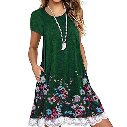 AHAYAKU Women O Neck Casual Print Pocket Lace Short Sleeve Mini Dress Loose Party Dress Green