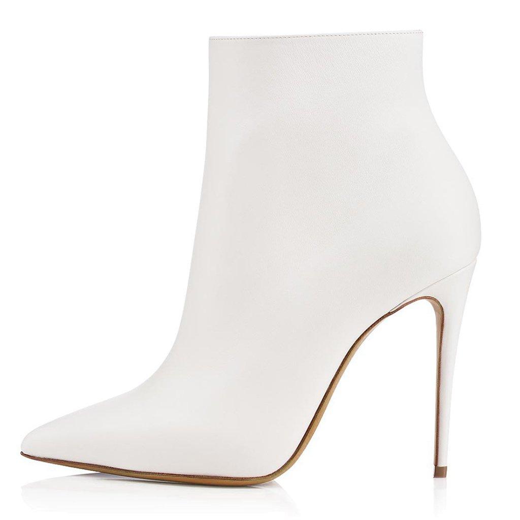 LYY.YY Botines De Tacón Alto En Blanco Y Negro con Botines De Punta Estrecha para Mujer Material De PU Zapatos con Cremallera Lateral,White,36 36 White