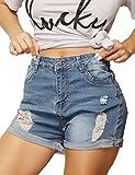 Haola Womens Stretchy Denim Shorts High Waisted Folded Hem Ripped Jeans Shorts LightBlue L