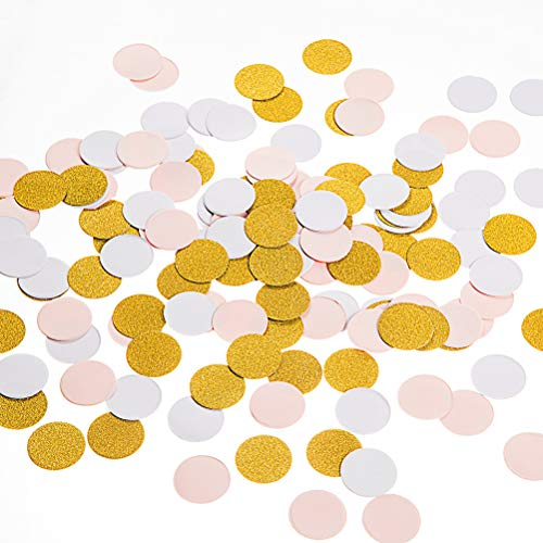 MOWO Paper Confetti Circles, Wedding Party Decor and Table Decor, 1.2'' in Diameter (glitter gold,pink,white mix,200pc)