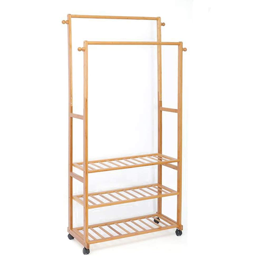 A Coat Rack, Rolling Bamboo Garment Rack, Clothes Hanging Rail with 3 Shelves 4 Hooks, for shoes, Hats and Scarves (color   B)