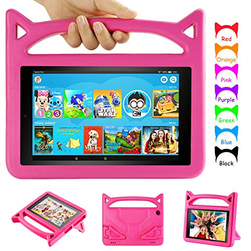 Amazon Fire HD 8 Tablet Case, Fire 8 Kids Case - Auorld Light Weight Shock Proof Kids Case for Kindle Fire 8 Tablet (Compatible with 6th/7th/8th Generation, 2016/2017/2018 Release) Pink (Best Case For Fire Hd 8 2019)