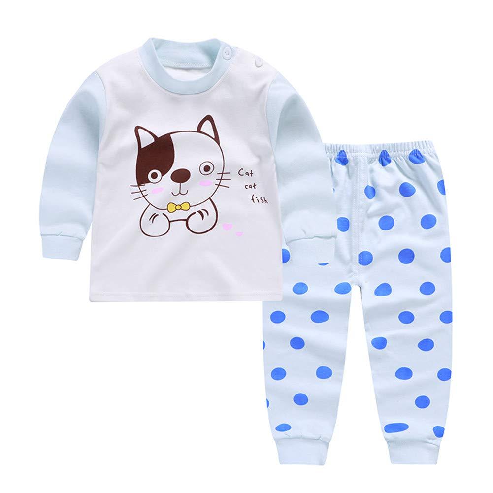 DOTBUY Ensemble de Pyjama Bébé Enfants Filles Garçons Pyjamas Set, 2 pièces 100% Coton Impression Top Manches Longues Pantalon Hiver Chaud Vêtements De Nuit