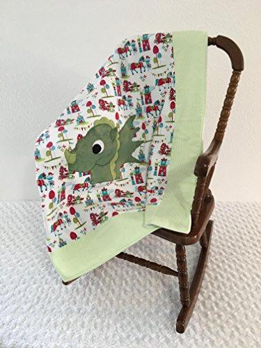 Small Green Dragon Applique Blanket