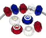 Best Wing Jewelry Set of (10)'' 4th of July Faceted Red, White and Blue Glass Charm Beads (10 Pcs)