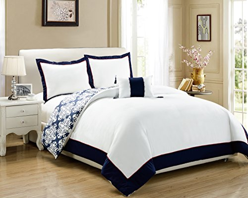 Chic Home DS2997-AN 3 Piece Trina Blue And White Reversible Medallion Printed Plush Hotel Collection Duvet Cover Set , Twin, Navy (Duvet Cover Medallion Twin)