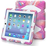 iPad Case,iPad 2 Case,iPad 3 Case,iPad 4 case,Gogoing Hot Newest Non Toxic 3D Protect Military-duty Case with Stand for iPad 4 & 3 & 2 - Rainproof Sandproof Dust-proof Shockproof (Pink camo-White)