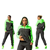 Elevin(TM)Women Hit The Color Stitching Long Sleeve Tracksuit Sport Suits Pants (S, Green)