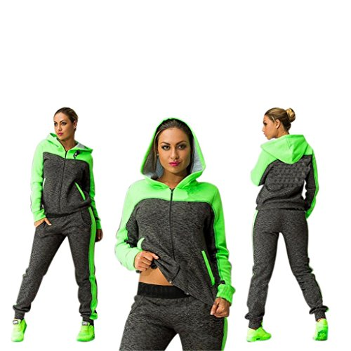 Elevin(TM)Women Hit The Color Stitching Long Sleeve Tracksuit Sport Suits Pants (XL, Green)