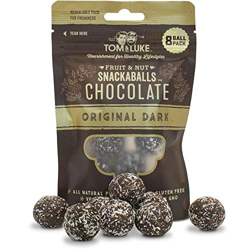 Tom & Luke Healthy Snack Balls (6 Count) - Delicious Original Dark Chocolate Snacks for Adults - Natural Fruit and Nut Energy Boost - 8 Balls Per Resealable Pack - Gluten & Dairy Free, Vegan, Non GMO
