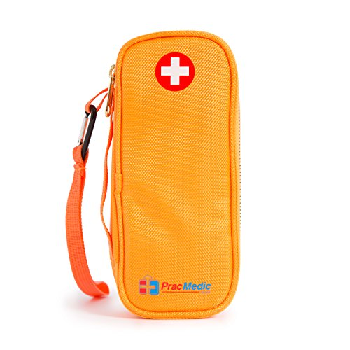 PracMedic- Epipen Carrying Case or Insulin Case - Premium Quality with YKK Zipper - fits Epi Pens, generic Benadryl, Asthma Inhaler, Nasal Spray, Eye Drops, Syringes, Vials, Ice Packs - Orange by PracMedic Bags