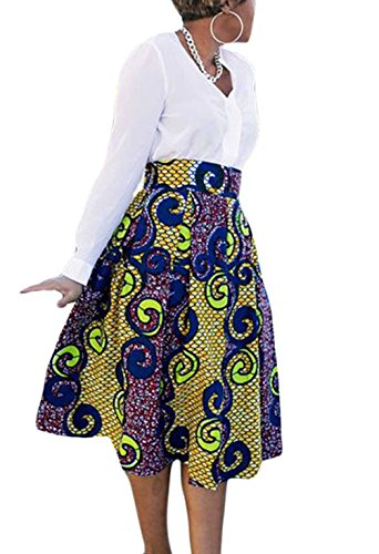 Annflat Women's African Print Knee Length Flare Skirts with Pockets Medium Multi