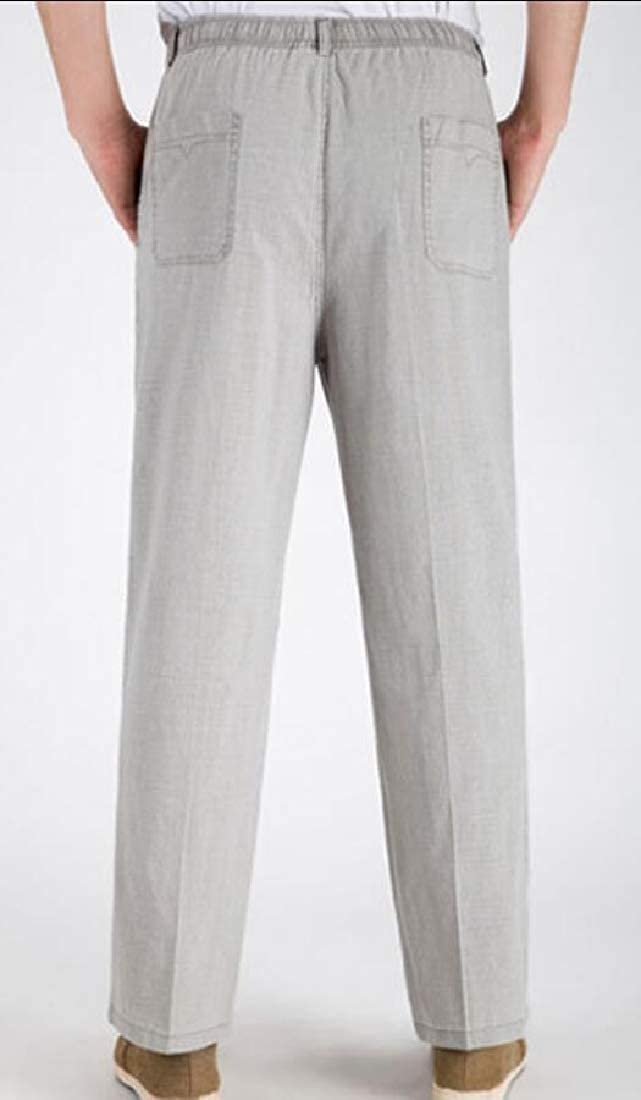 Xswsy XG Mens Relaxed Fit Elastic Waistband Solid Leisure Linen Straight Leg Pants
