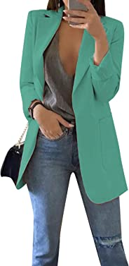 GRASWE Women's Casual Long Sleeve Blazer Jacket Cardigan Plus Size Work Blazer