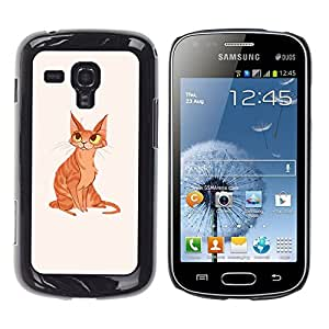 Shell-Star Arte & diseño plástico duro Fundas Cover Cubre Hard Case Cover para Samsung Galaxy S Duos / S7562 ( Cat Yellow Ginger Orange Art Drawing Eyes )