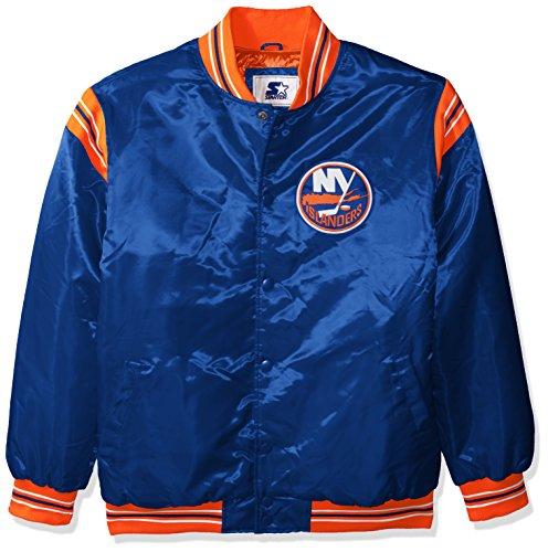 NHL New York Islanders Men's The Enforcer Retro Satin Jacket, Large, Blue