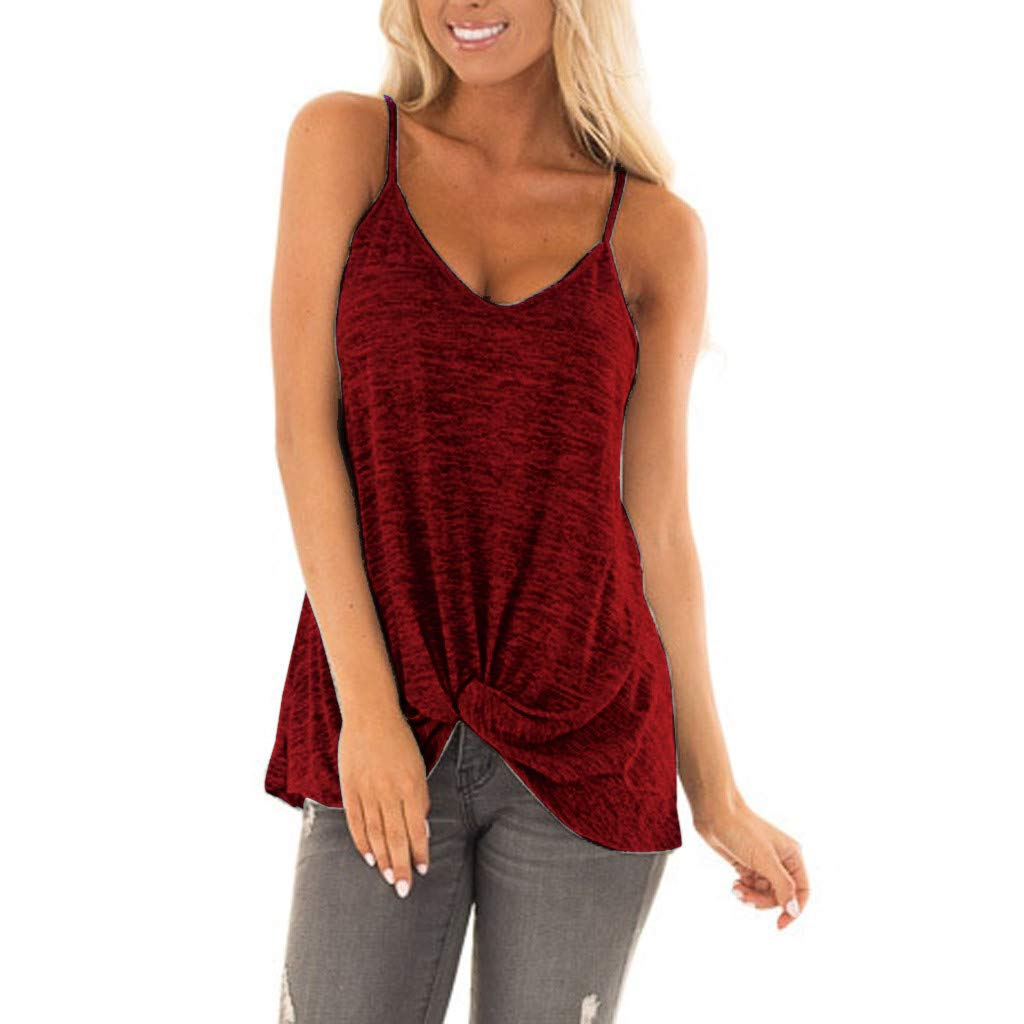 Sleeveless Knotted Tops for women丨New Upgrade Elegant Off Shoulder Solid T Shirts丨Womens Casual Tunic Top Ladies Blouse(Red,XL)