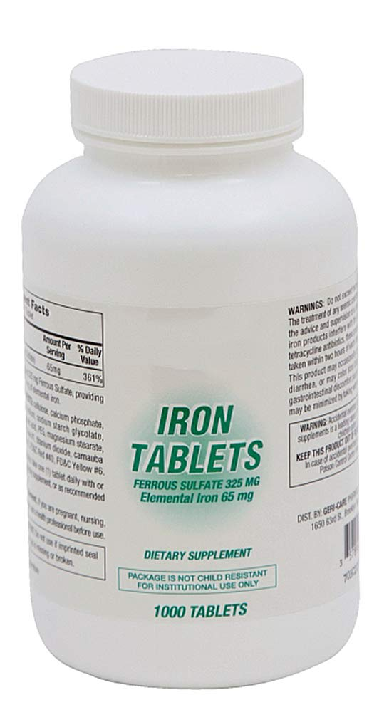 12 Bottles of Iron Supplement. Iron Tablets with Ferrous Sulfate 325 mg (5 gr). 1000 Tablets per Bottle. Elemental Iron 65 mg to Treat or Prevent Iron-Deficiency. Latex-Free.