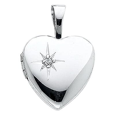 Amazon.com: ioka joyas – oro blanco de 14 K Relicario En ...