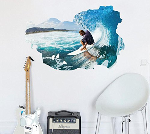 Generic 3D Surfing Wall Decals, Living Room Bedroom Removable Wall Stickers Murals (Light blue)