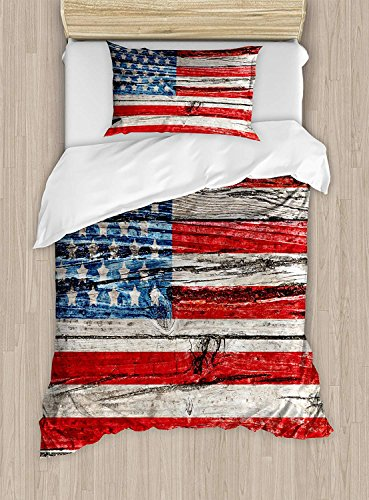 Child Queen Bed Sets,USA Duvet Cover Set,Fourth of July Independence Day Painted Wooden Panel Wall Looking Image Freedom,Include 1 Comforter Cover 1 Bed Sheets 2 Pillow Cases,Blue Red Beige ()