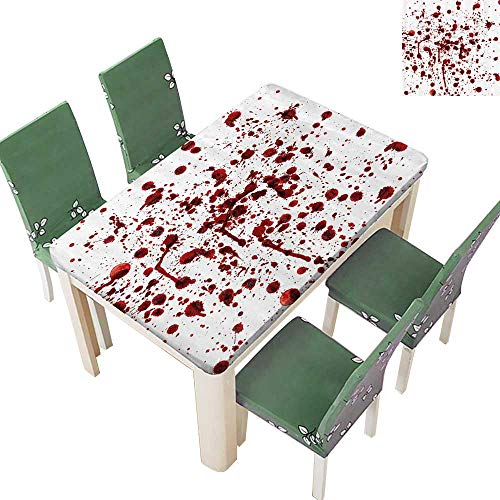 Printsonne Indoor/Outdoor Spillproof Tablecloth Splashes of Blood Grunge Style Bloodstain Horror Scary Zombie Halloween Themed Restaurant Party 50 x 72 Inch ()