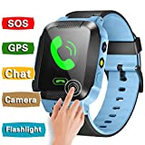 GBD Smart Watch Phone Kids Girls Boys GPS Tracker Summer Sport Outdoor Birthday Gifts Travel Camping Camera SIM Calls Anti-Lost SOS Wristband Bracelet iOS Android Smartphone (Blue)