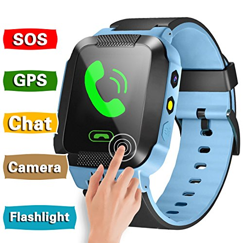 GBD Smart Watch Phone for Kids Girls Boys GPS Tracker Summer Sport Outdoor Birthday Gifts Travel Camping with Camera SIM Calls Anti-lost SOS Wristband Bracelet for iPhone Android Smartphone (Blue) by GBD