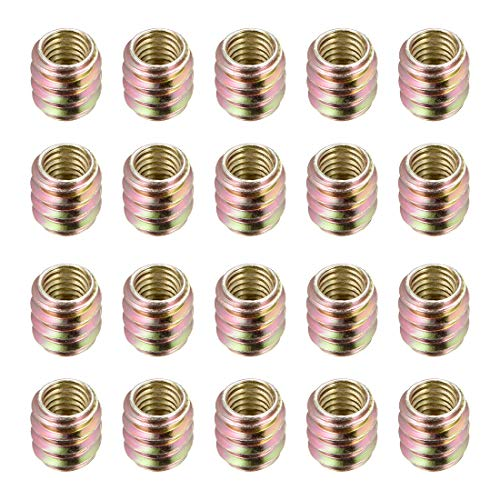 uxcell Furniture Threaded Insert Nut Carbon Steel M8 Internal Thread 14mm Length 20pcs