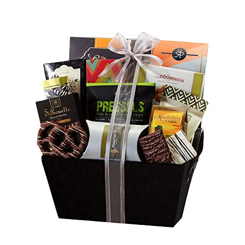 - Sweet and Savory Gift Basket with Chocolates, Seasoned Nuts, Brittle, Pastries, Assorted Sweets & Snacks