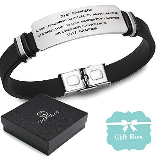 Creatique to My Grandson Bracelets Bracelet | Inspirational Bracelet, Engraved Personalized Jewelry Grandma Grandson Gift (TomyGrandson) from Creatique