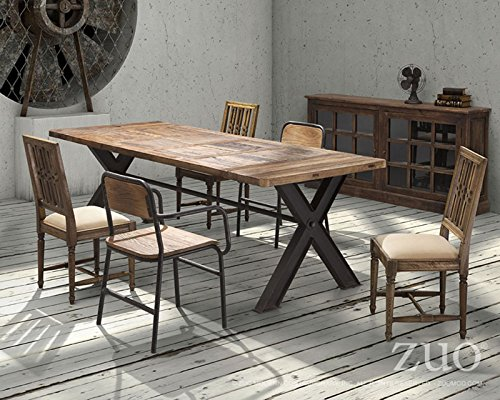 Metal And Wood Industrial Dining Table Country Western Style