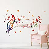 Cartoon Animals Wall Stickers Trees Butterflies Flowers Removable Wall Decals Home Decor PVC Art Mural Baby Boys Girls Kids Bedroom Kitchen Room Decoration Wall Sticker Posters (Colorful Feather Music Notes)