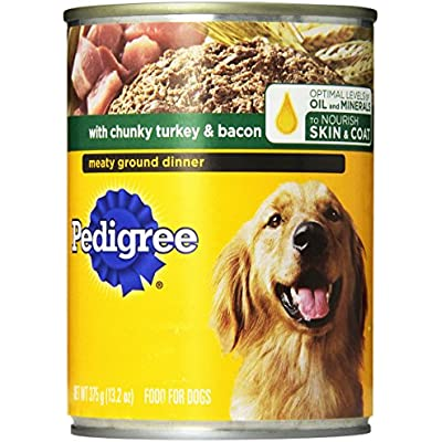 Pedigree Meaty Ground Dinner With Chunky Turkey And Bacon Canned Dog Food 13.2 Ounces (Pack Of 24)
