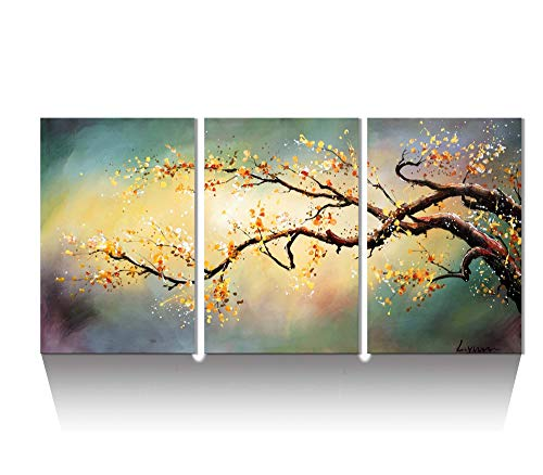 Oil Painting Plum - ARTLAND Modern 100% Hand Painted Flower Oil Painting on Canvas Yellow Plum Blossom 3-Piece Gallery-Wrapped Framed Wall Art Ready to Hang for Living Room for Wall Decor Home Decoration 36x72inches