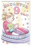 Daughter 9th Birthday Card - Girl on Bumper Car design GR