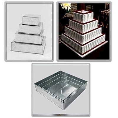 EURO TINS Set of 4-piece square cake baking pans by 6, 8, 10 & 12 Inch