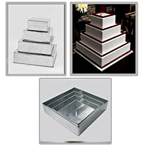 3 tier square wedding cake pans 4 tier square multilayer wedding birthday 10257