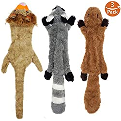 KUNPET Stuffingless Dog Toys with Squeaker, Durable Dog Squeaky Toys Unstffued Dog Toy Set of Squirrel Raccoon Lion Stuffless Plush Dog Chew Toys for Large Medium Small Dogs 3Pack, 23 Inch