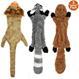 #6: KUNPET Stuffingless Dog Toys with Squeaker, Durable Dog Squeaky Toys Unstffued Dog Toy Set of Squirrel Raccoon Lion Stuffless Plush Dog Chew Toys for Large Medium Small Dogs 3Pack, 23 Inch