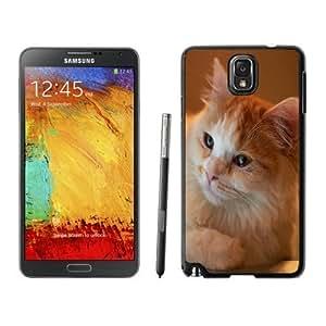 NEW Unique Designed Samsung Galaxy Note 3 Phone Case With Orange Fluffy Cat_Black Phone Case