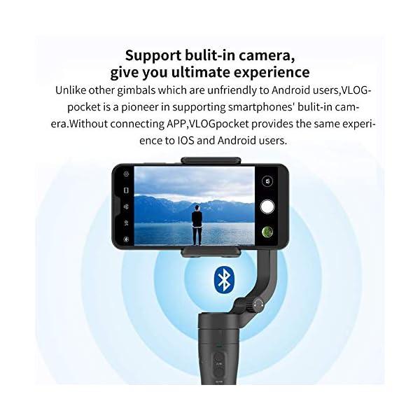 FeiyuTech VLOGpocket a 3 assi - Stabilizzatore portatile per Smartphone IPhone Sumsung Huawei XiaoMi con mini treppiede - Scuro 5 spesavip