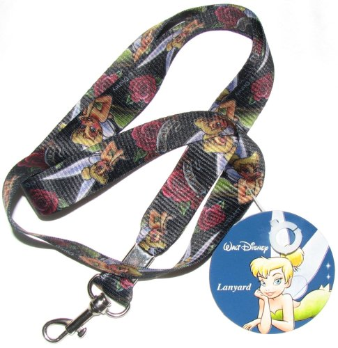 Disney Tinker Bell Gothic Rose Lanyard key chain NEW