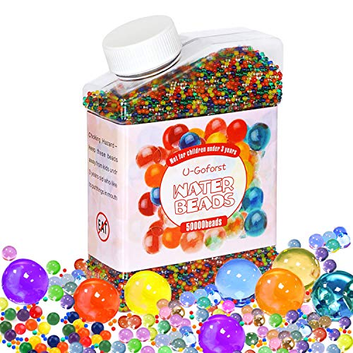 U-Goforst Water Beads Pack (50000 Beads /15Large Jumbo Beads /10 Balloons) Rainbow Mix Kids Water Gel Beads, Jelly Water Growing Balls for Spa Refill, Kids Tactile Sensory Toys, Plants Vase, Party -