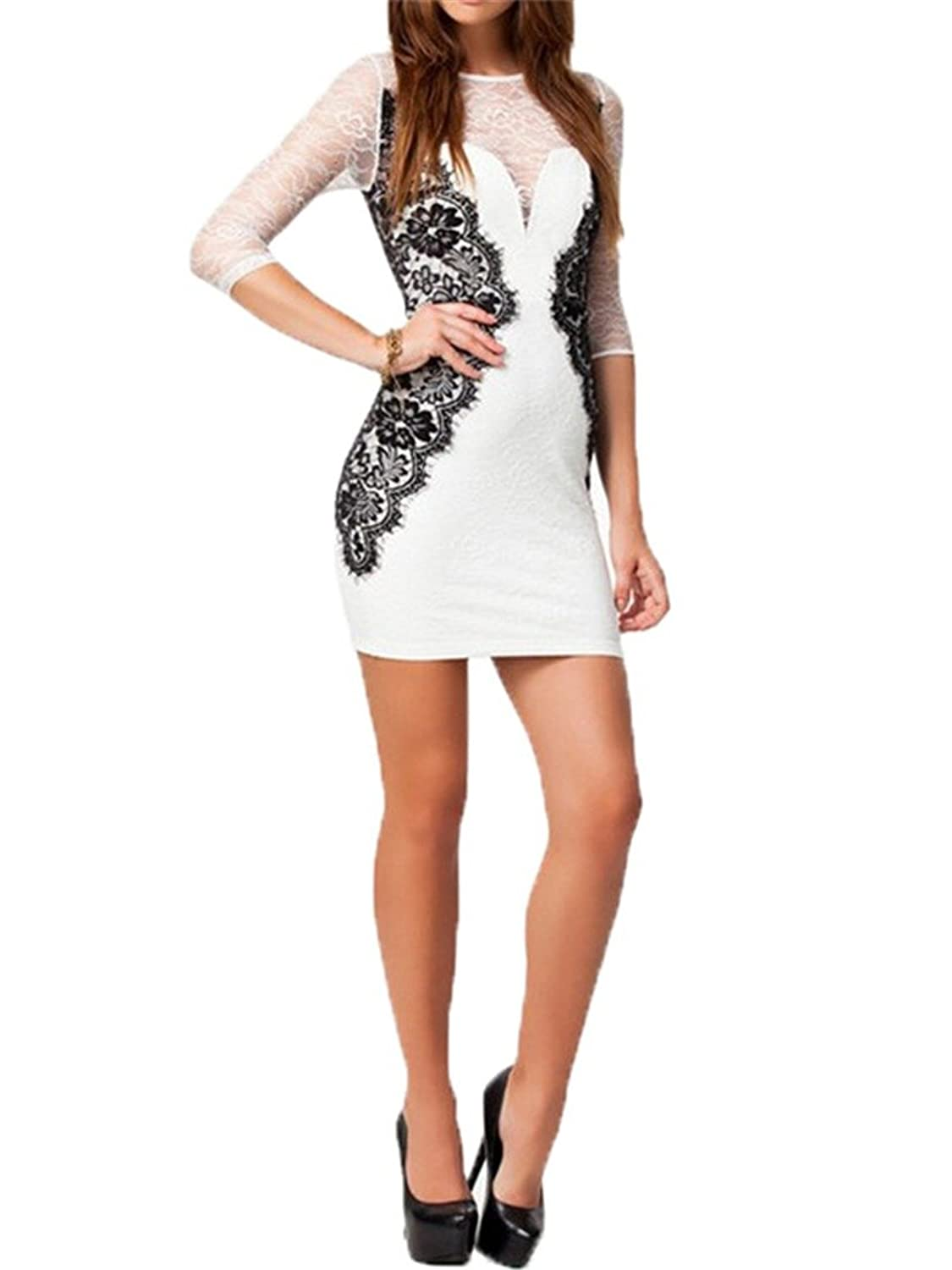 Black Lace White Elegant Sexy Mesh Short Sleeves Women Mini Slim Bodycon Dress