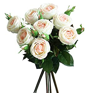 cn-Knight Artificial Flower 6pcs 28'' Long Stem Artificial Rose with Gel Coated Silk Flower and Bud for Home Décor Wedding Bridal Bouquet Bridesmaid Centerpiece Office Baby Shower (Pinkish White) 32