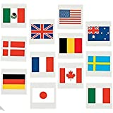 International Flag Tattoos, World Flags Temporary Tattoos, 72 Count